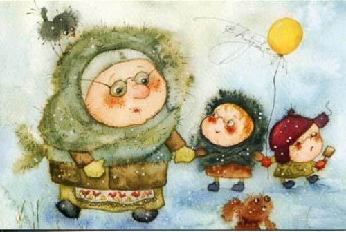 Самые забавные детские картинки про зиму и Новый год